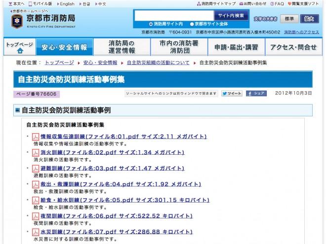 自主防災会防災訓練活動事例集(京都市)