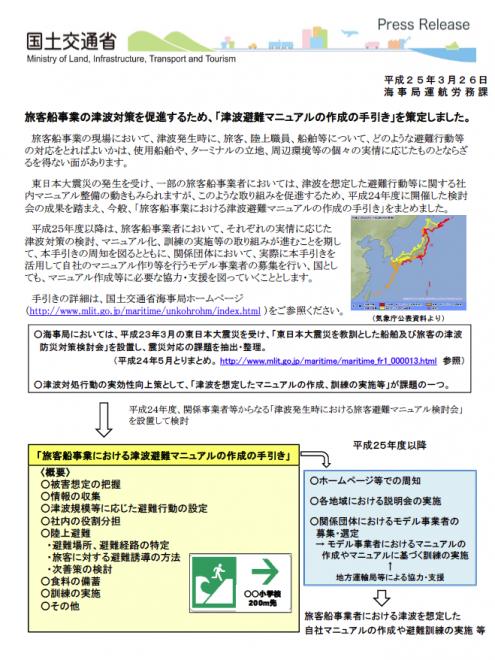 旅客船事業における津波避難マニュアルの作成の手引き(国交省)