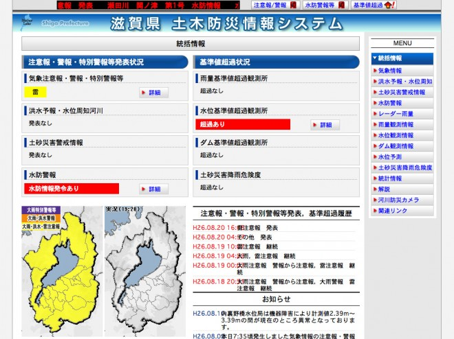 滋賀県 土木防災情報システム