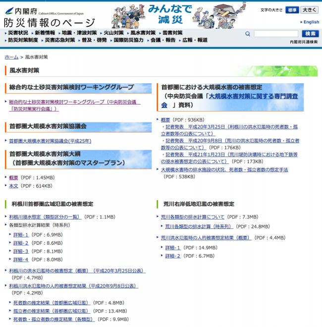 風水害対策のページ(内閣府)