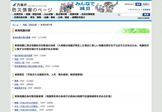 東海地震対策(内閣府)