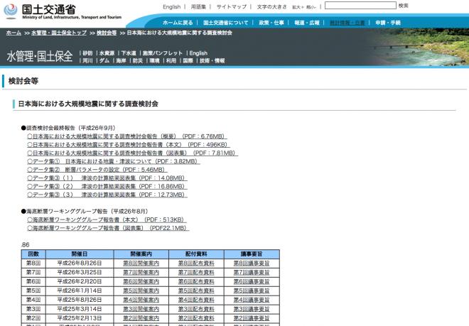 日本海における大規模地震に関する調査検討(国交省)