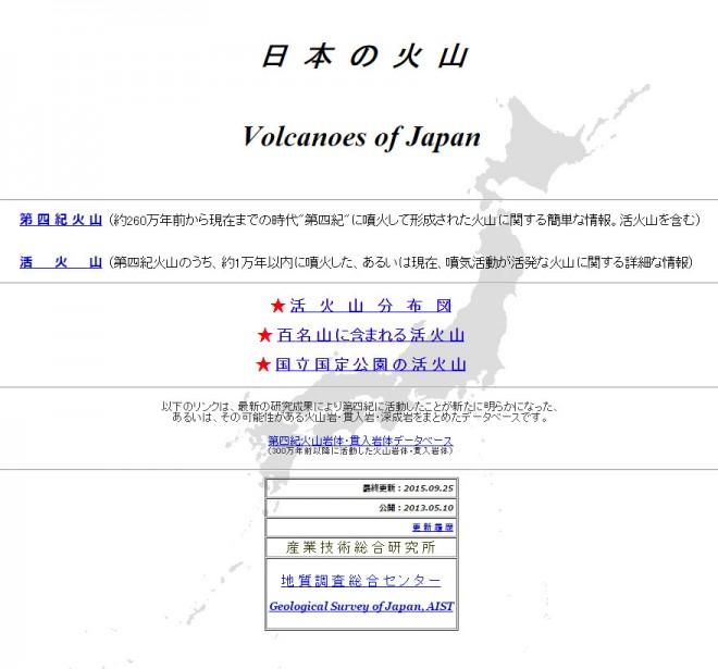 日本の火山(産業技術総合研)