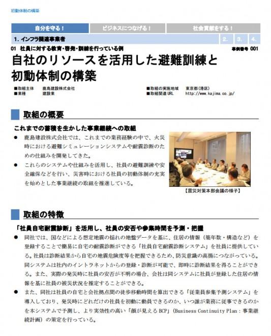 国土強靱化 民間の取組事例集 初動体制の構築(内閣官房)