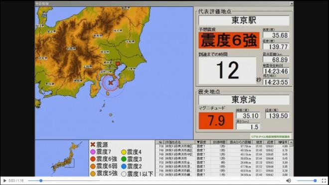 緊急地震速報(予報)・デモ映像(2016防災推進国民大会)