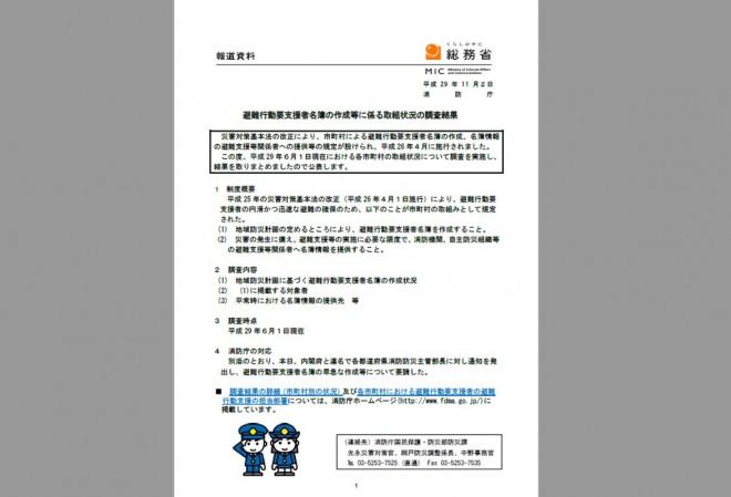 「避難行動要支援者名簿の作成等に係る取組状況の調査結果」の公表(消防庁)