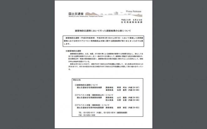 「建築物防災週間において行った調査結果」の公表(国土交通省)