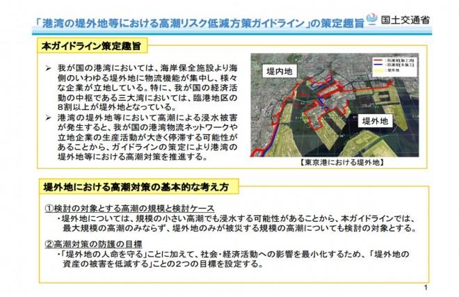 「港湾の堤外地等における高潮リスク低減方策ガイドライン」の策定(国土交通省)