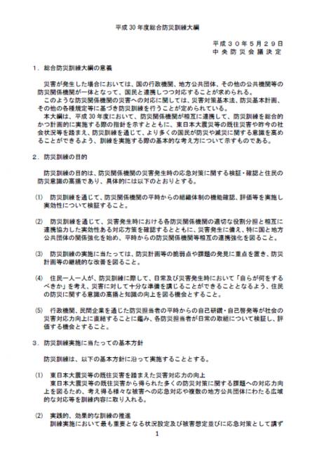 平成30年度総合防災訓練大綱の公表について(内閣府)