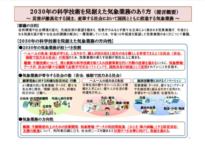 交通政策審議会気象分科会提言「2030 年の科学技術を見据えた気象業務のあり方」の公表(気象庁)