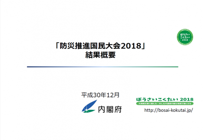 「防災推進国民大会2018 結果概要」の公表(内閣府)